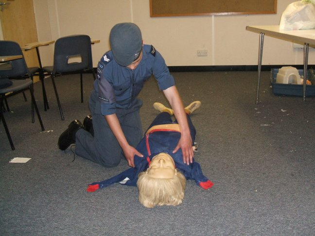 Cpl White completeing a First Aid training Exercise